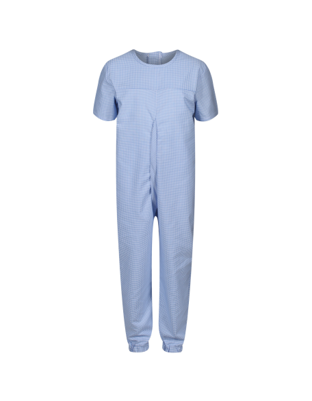 Boy's Short-Sleeved Sleepsuit with Zip Back (Blue Check Fabric)