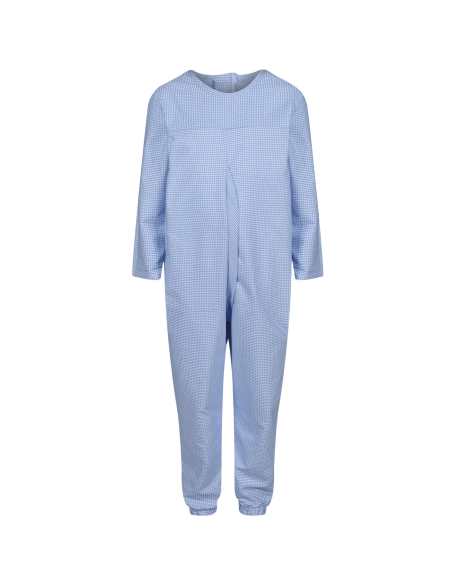 Boy's Long-Sleeved Sleepsuit with Zip Back check fabric